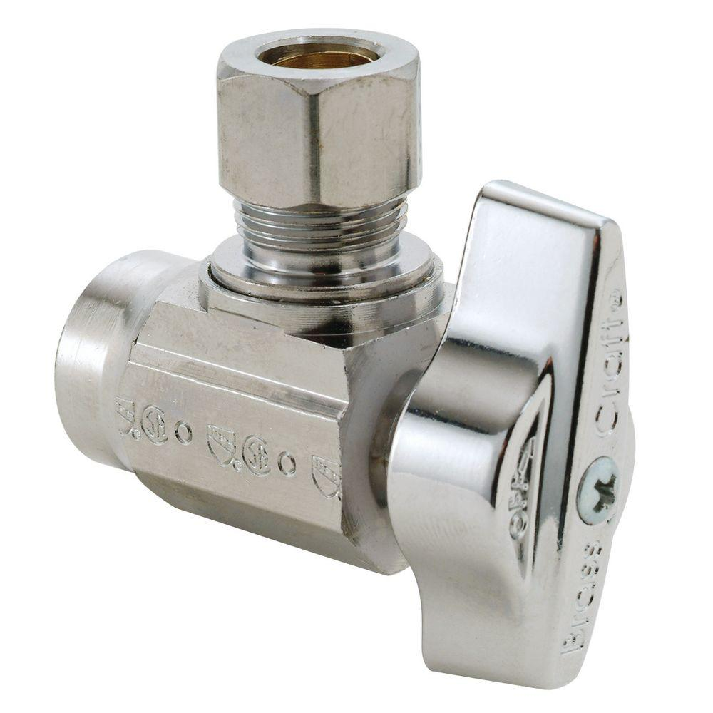 BrassCraft 1/2 in. Nominal Sweat Inlet x 3/8 in. O.D. Compression Outlet 1/4-Turn Angle Ball Valve