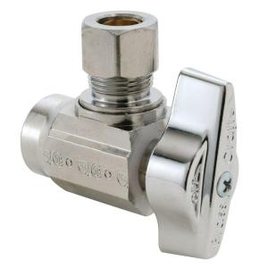 Brasscraft 1/2 inch Nominal Sweat Inlet x 3/8 inch O.D. Compression Outlet 1/4-Turn Angle Ball Valve by BrassCraft