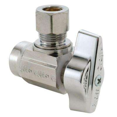 1/2 in. Nominal Sweat Inlet x 3/8 in. O.D. Compression Outlet Brass 1/4-Turn Angle Ball Valve (5-Pack)