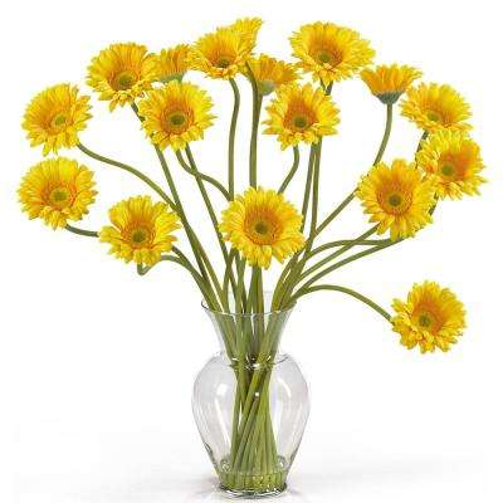 21 in. Gerber Daisy Liquid Illusion Silk Flower Arrangement in Yellow
