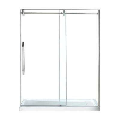 Antigua 60 in. x 78.74 in. Frameless Sliding Shower Door in Chrome with Handle