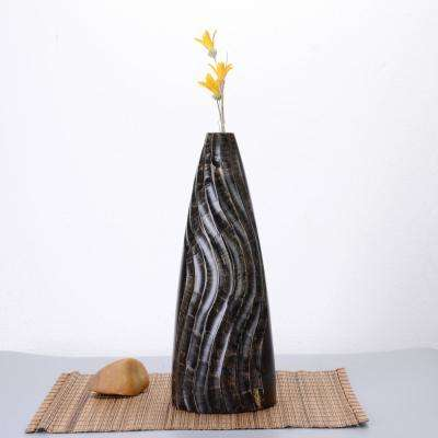 15 in. Tall Handmade Decorative Tapered Mango Wood Half Swirl Tower Vase in Black