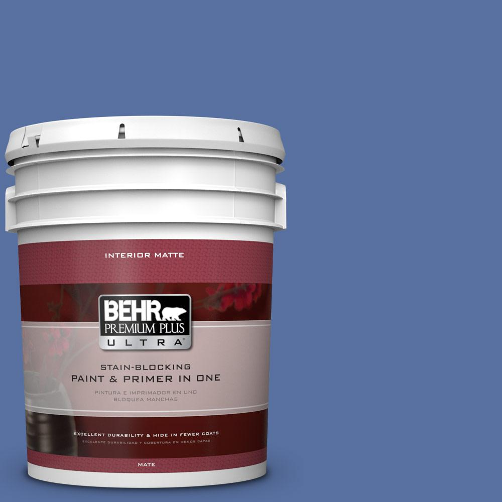 BEHR Premium Plus Ultra 5 gal. #PMD-23 Cobalt Flame Flat/Matte Interior Paint