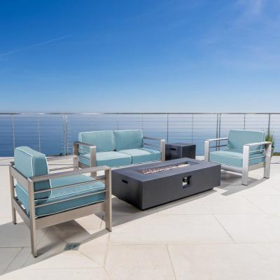 Noble House Cape Coral Silver 5-pc Aluminum Patio Fire Pit Seating Set w/ Light Teal and White Corded Cushions