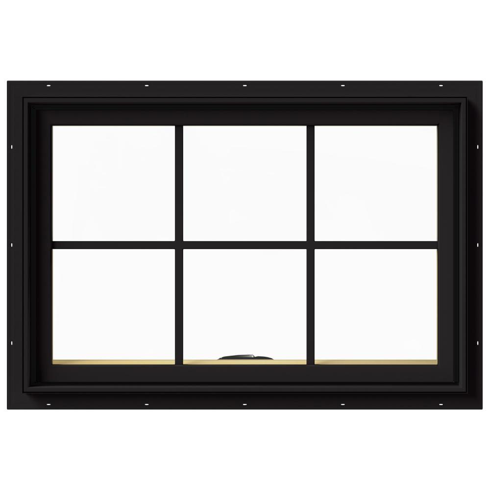 JELD-WEN 36 in. x 24 in. W-2500 Series Black Painted Clad Wood Awning Window w/ Natural Interior and Screen