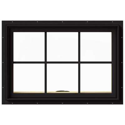 innovative design 4effc 5e29e 36 in. x 24 in. W-2500 Series Black Painted Clad Wood Awning Window w/  Natural Interior and Screen