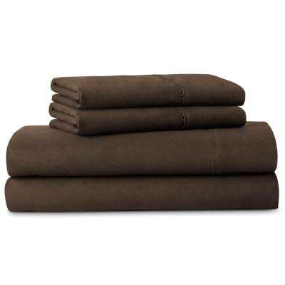 4-Piece Brushed Microfiber Brown Queen Size Sheet Set