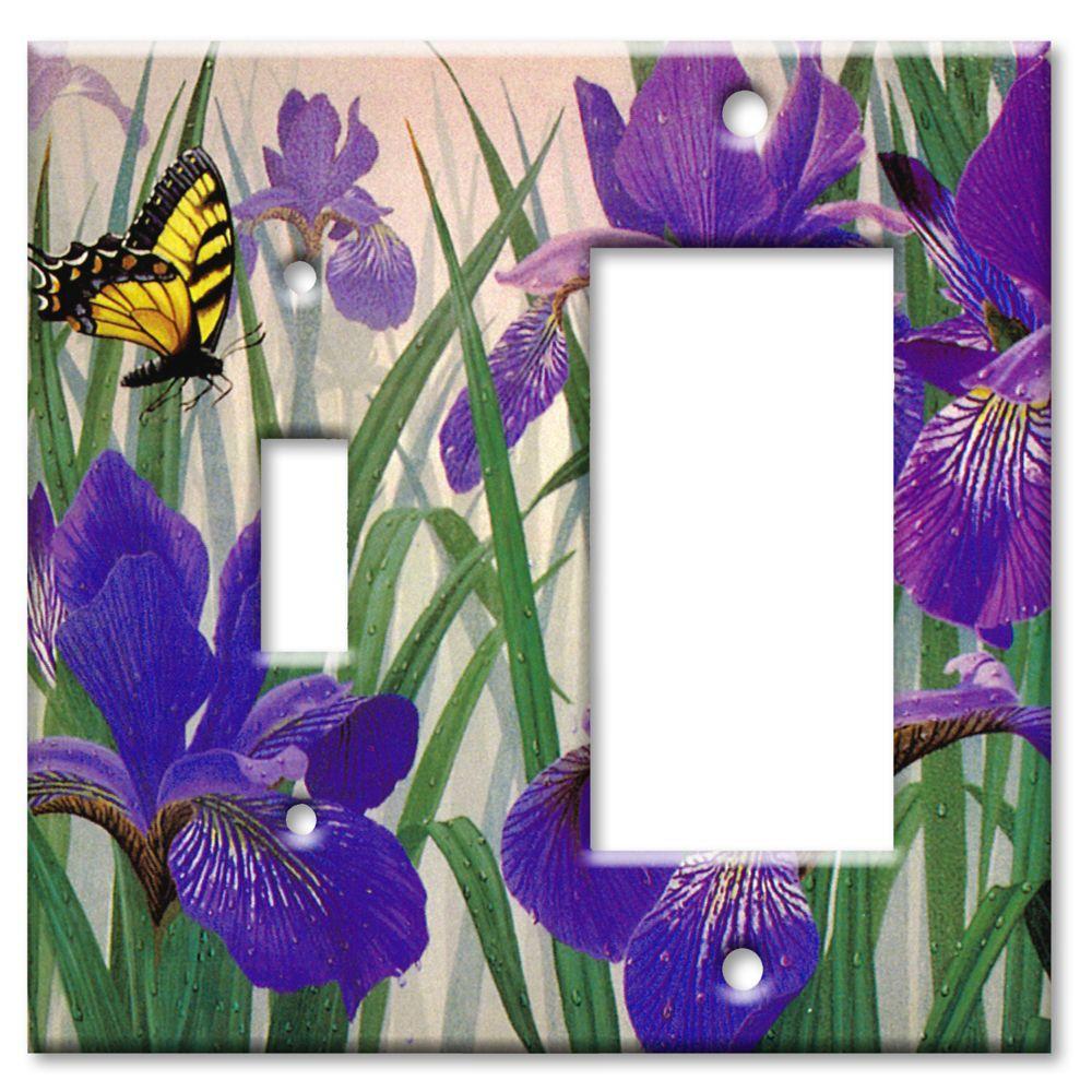 Art Plates Butterfly in Irises Switch/Rocker Combo Wall Plate