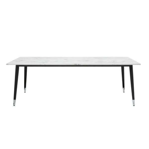 Nicole Miller Jabari 90.5 in. White Marble Dining Table with Black/Silver