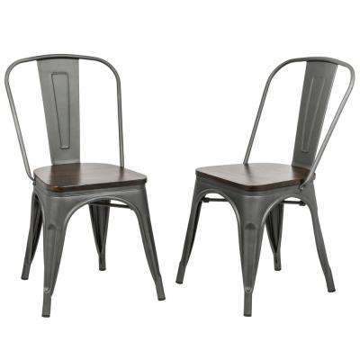 Ash Rustic Pewter Wood Seat Dining Chair (Set of 2)