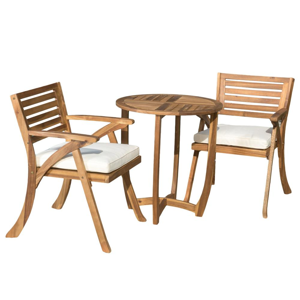 Noble House Coronado Teak 3-Piece Wood Round Outdoor Bistro Set with Cream Cushions