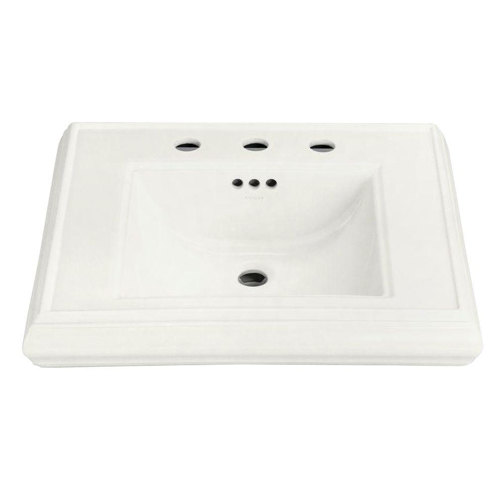 Memoirs Ceramic Pedestal Sink Basin in White with Overflow Drain