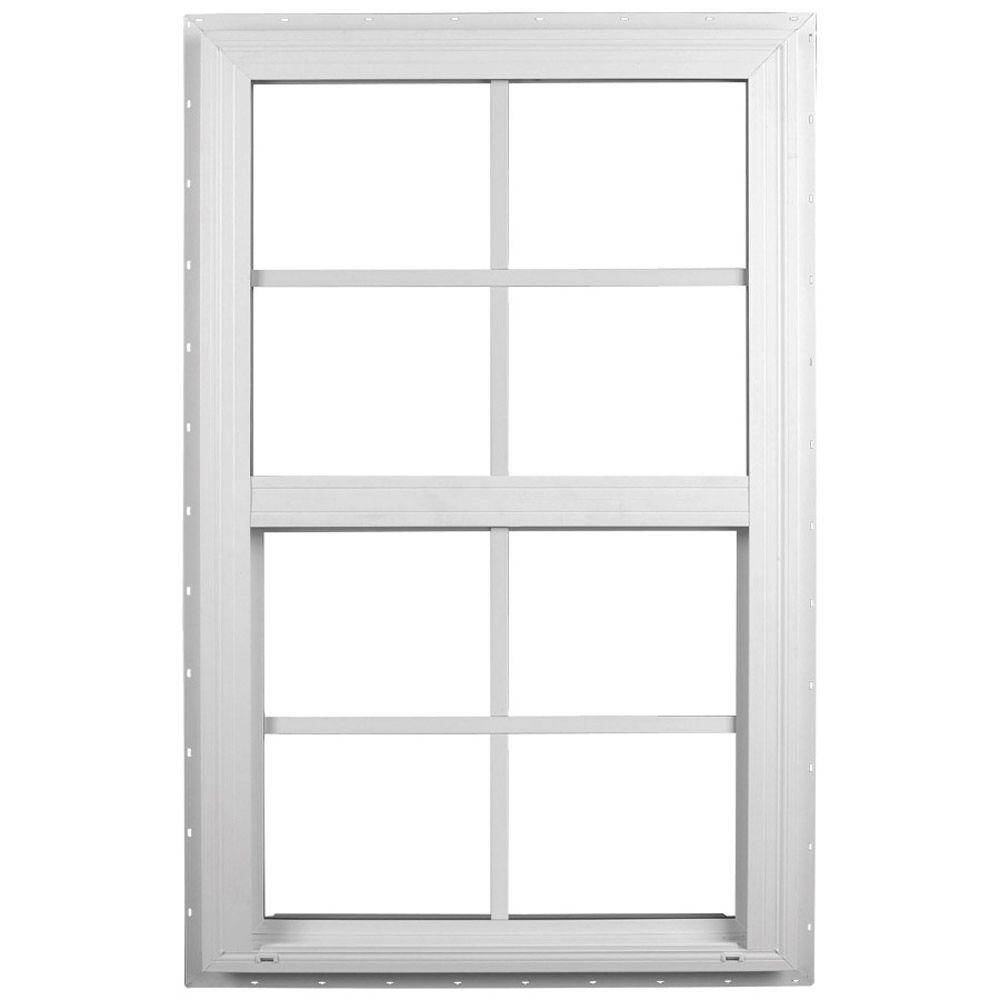Ply gem 23 5 in x 35 5 in single hung vinyl window for Glass windows