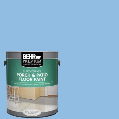 Behr Premium 1 Gal P520 3 Toile Blue Gloss Enamel Interior Exterior Porch And Patio Floor Paint 670501 The Home Depot