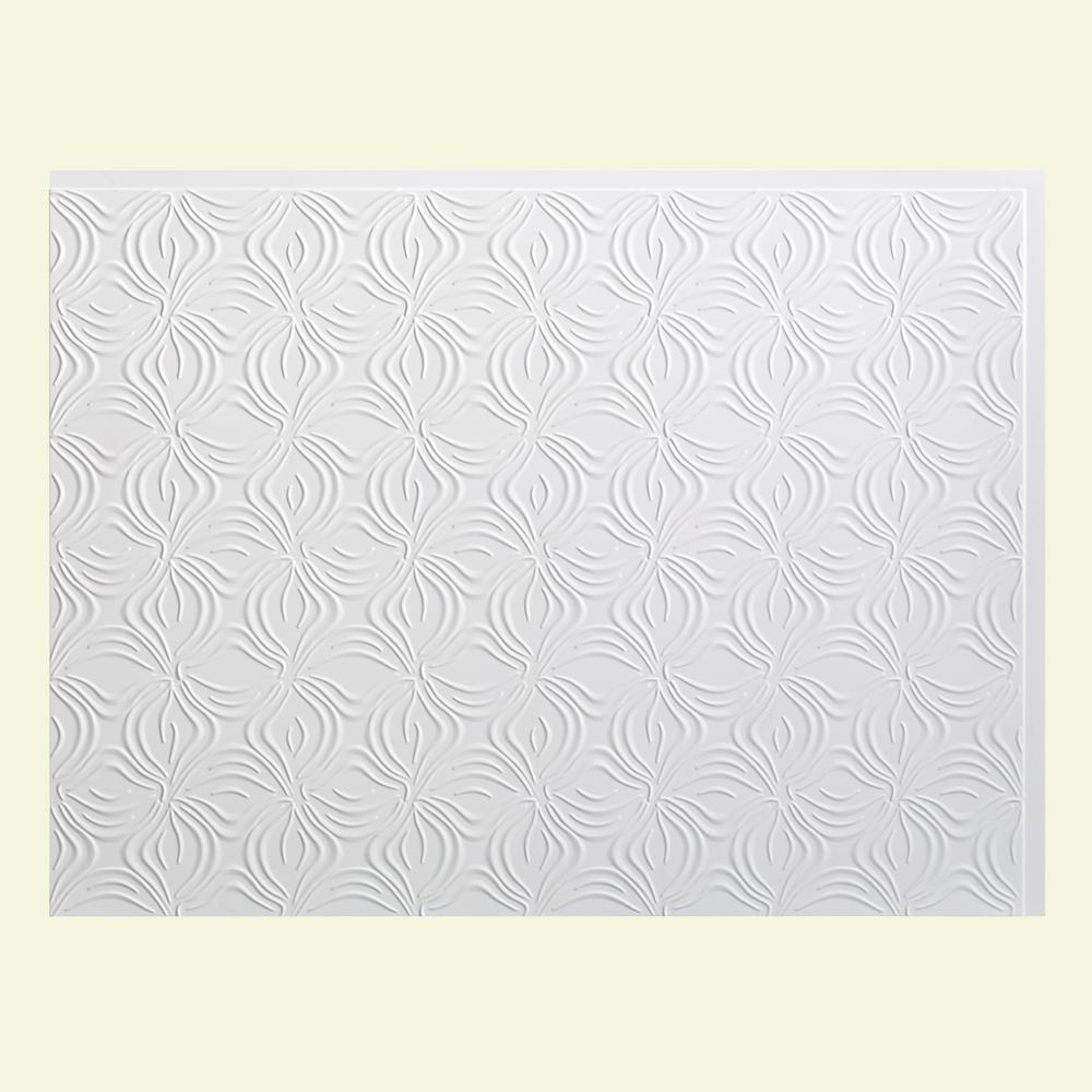 Lotus 18 in. x 24 in. Matte White Vinyl Decorative Wall Tile Backsplash 18 sq. ft. Kit