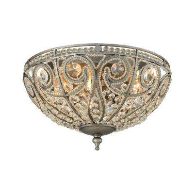 Elizabethan 3-Light Weathered Zinc LED Flush Mount