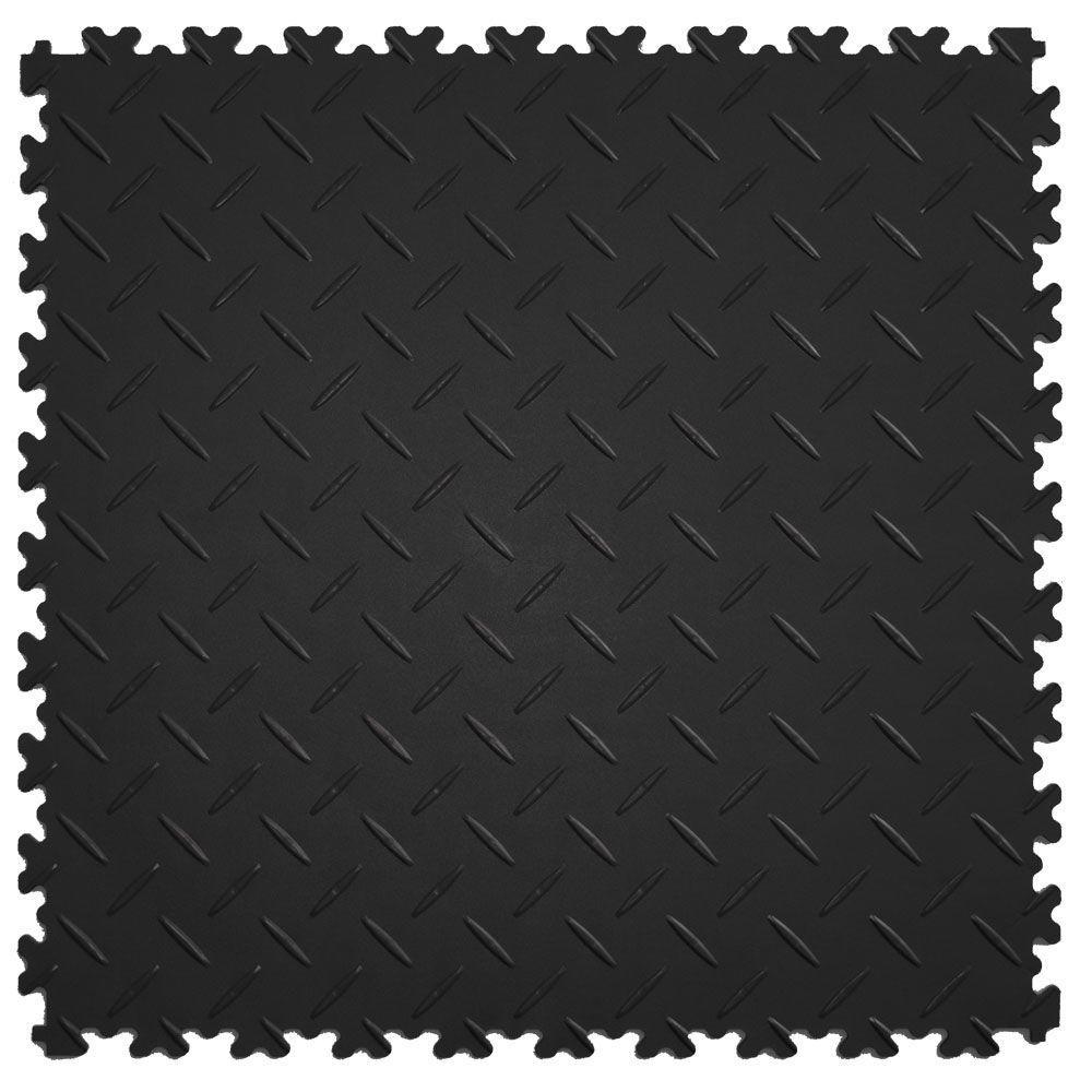 IT-tile Diamond Plate Black 20.5 in. x 20.5 in. Residential & Commercial Interlocking Multi-Purpose Flooring Tile, 8Tile