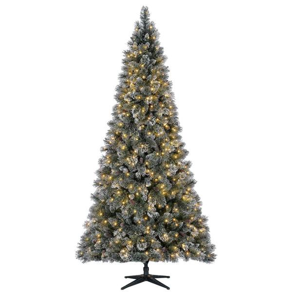 9 ft Sparkling Amelia Pine LED Pre-Lit Artificial Christmas Tree with 600 Warm White Lights