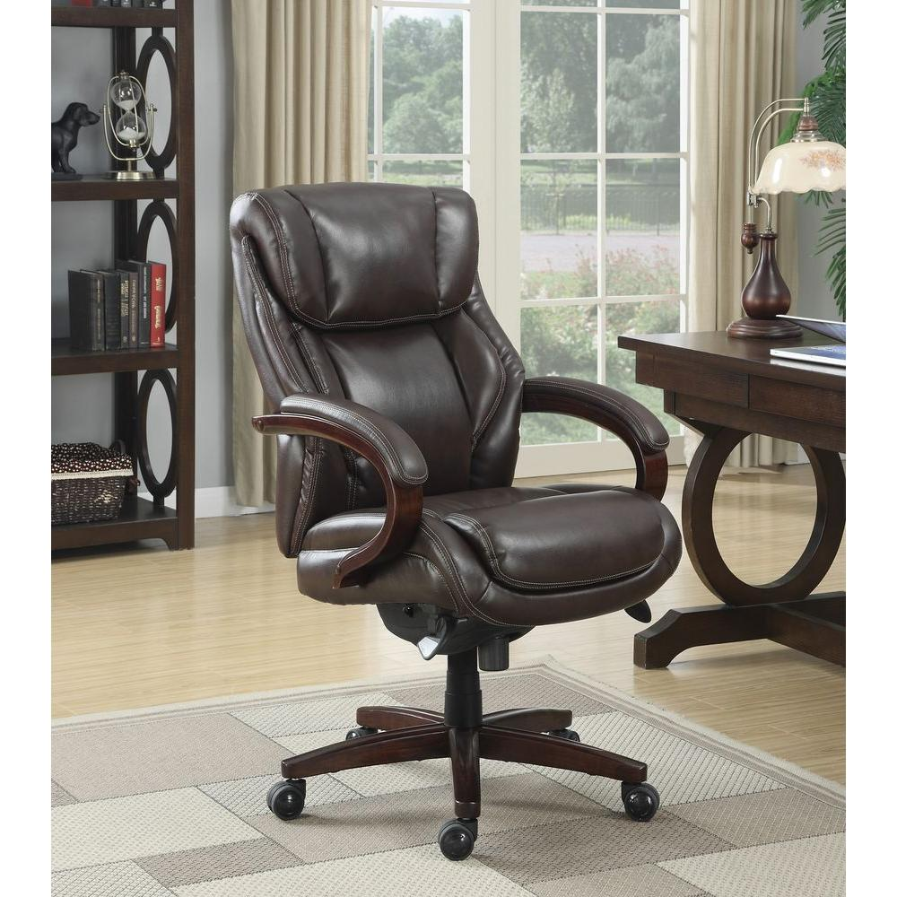 Delicieux La Z Boy Bellamy Coffee Brown Bonded Leather Executive Office Chair
