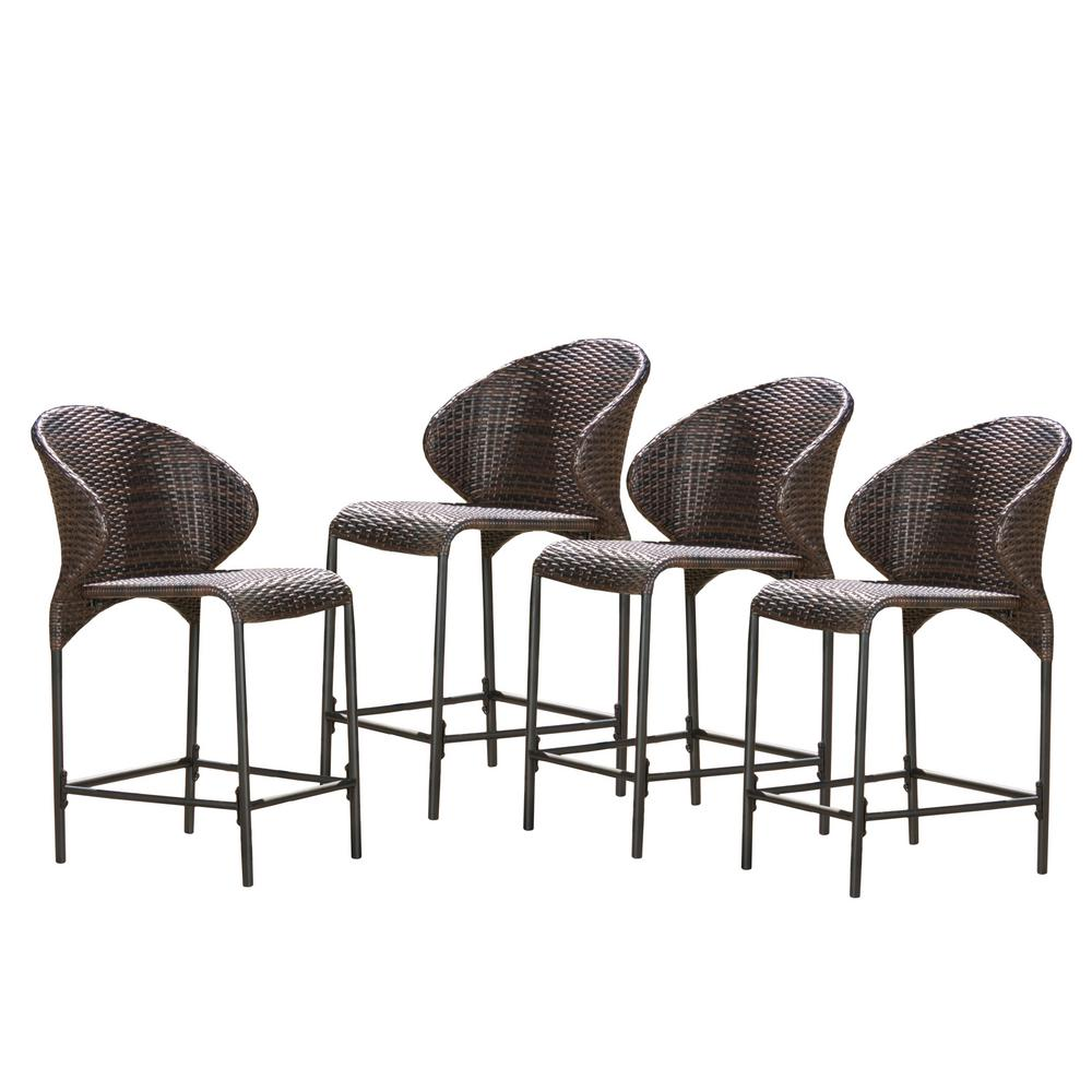 Noble House Oyster Bay Wicker Outdoor Bar Stool 4 Pack 298200