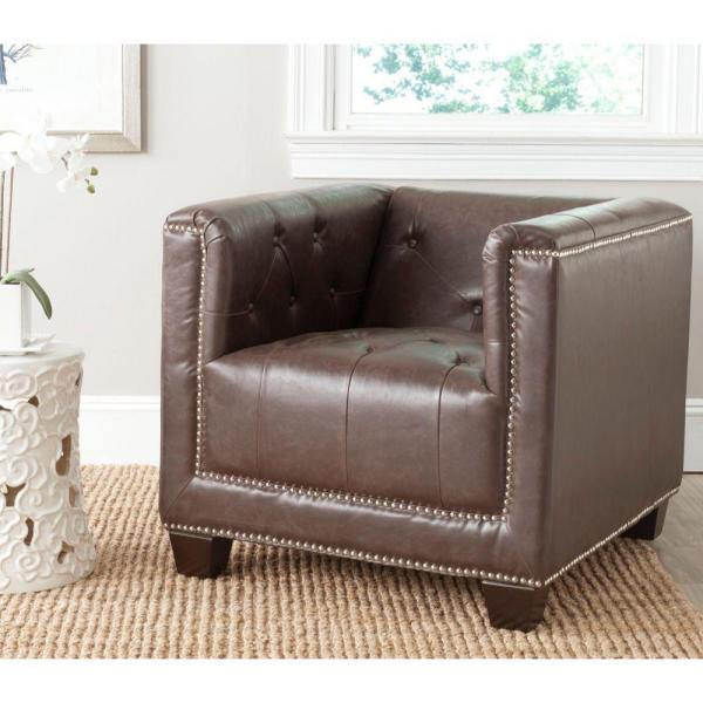 Safavieh Bentley Antique Brown/Espresso Bicast Leather Club Arm Chair MCR4574D