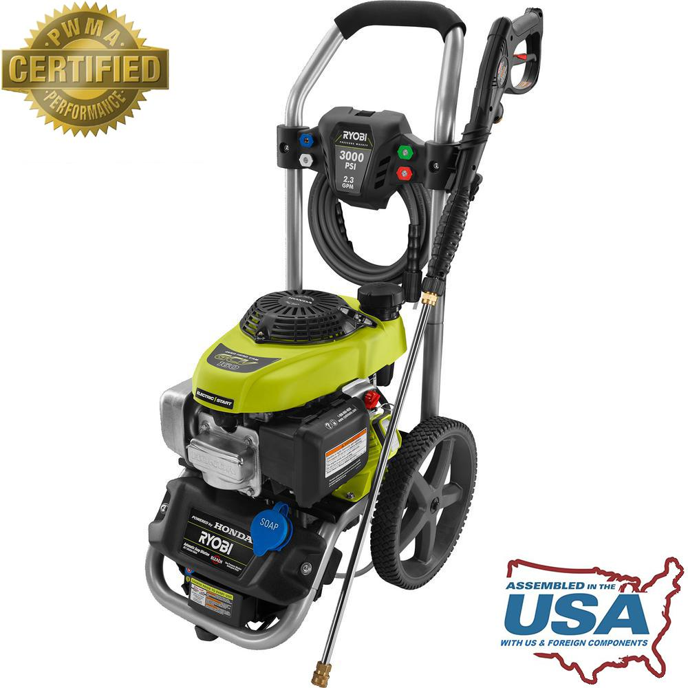 home depot pressure washers ryobi 3 000 psi 2 3 gpm honda electric start gas pressure 28665