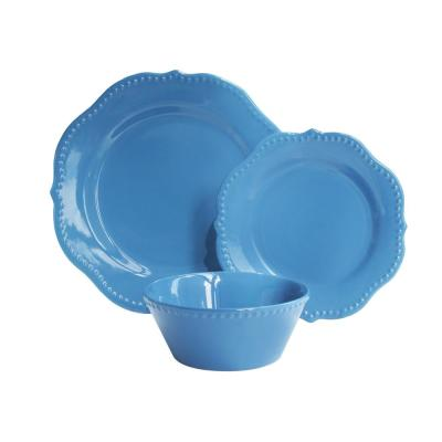Scallop Sapphire 12-Pieces Blue Dinner Set
