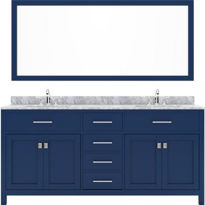 Virtu USA Caroline 72 in. W Bath Vanity in Blue with Marble Vanity Top in White with White Basin and Mirror