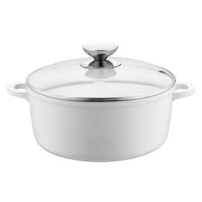 Vario Click Pearl 8.5 in./2.5 Qt. Induction Round Dutch Oven with Lid White