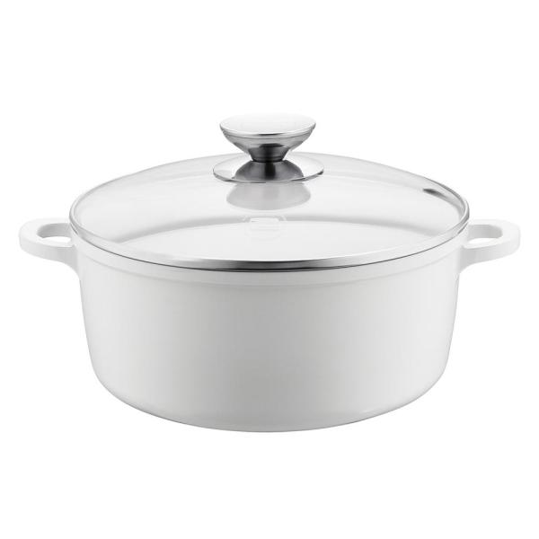 Berndes Vario Click Pearl 8.5 in./2.5 Qt. Induction Round Dutch Oven with Lid White