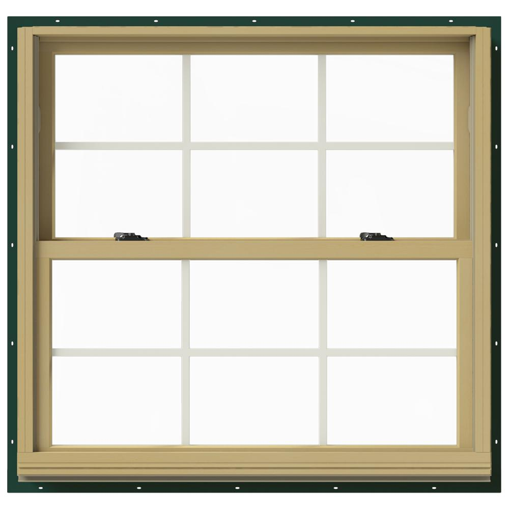 Jeld wen in x 36 in w 2500 double hung aluminum for Window treatments for double hung windows