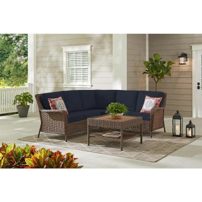Cambridge 4-Piece Brown Wicker Outdoor Patio Sectional Sofa and Table with CushionGuard Midnight Navy Blue Cushions