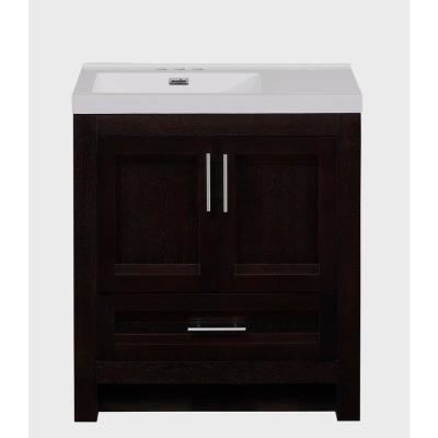 30 in. W Bathroom Vanity In Rich Walnut With Cultured Marble Top