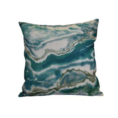 16 in. x 16 in. Remolina, Geometric Print Pillow, Teal