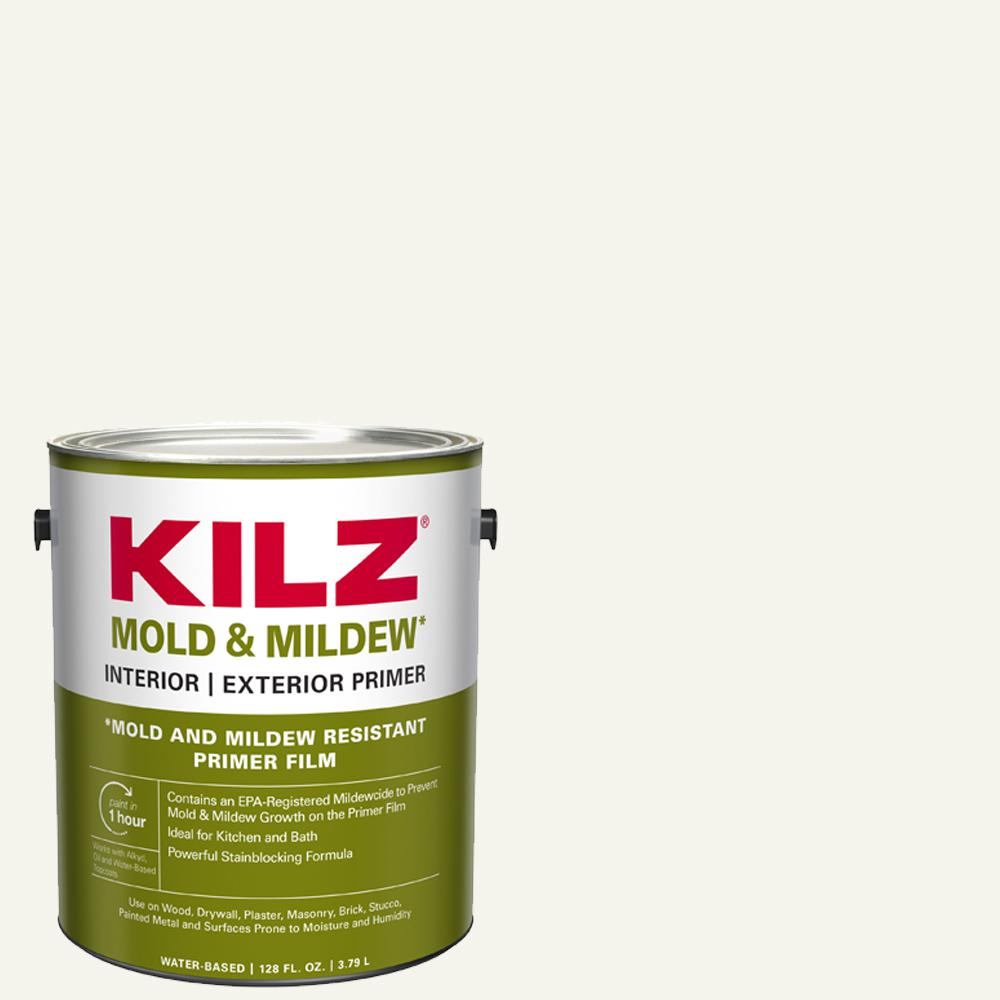 KILZ Mold and Mildew 1 Gal. White Water Based Interior and Exterior Primer, Sealer and Stain-Blocker