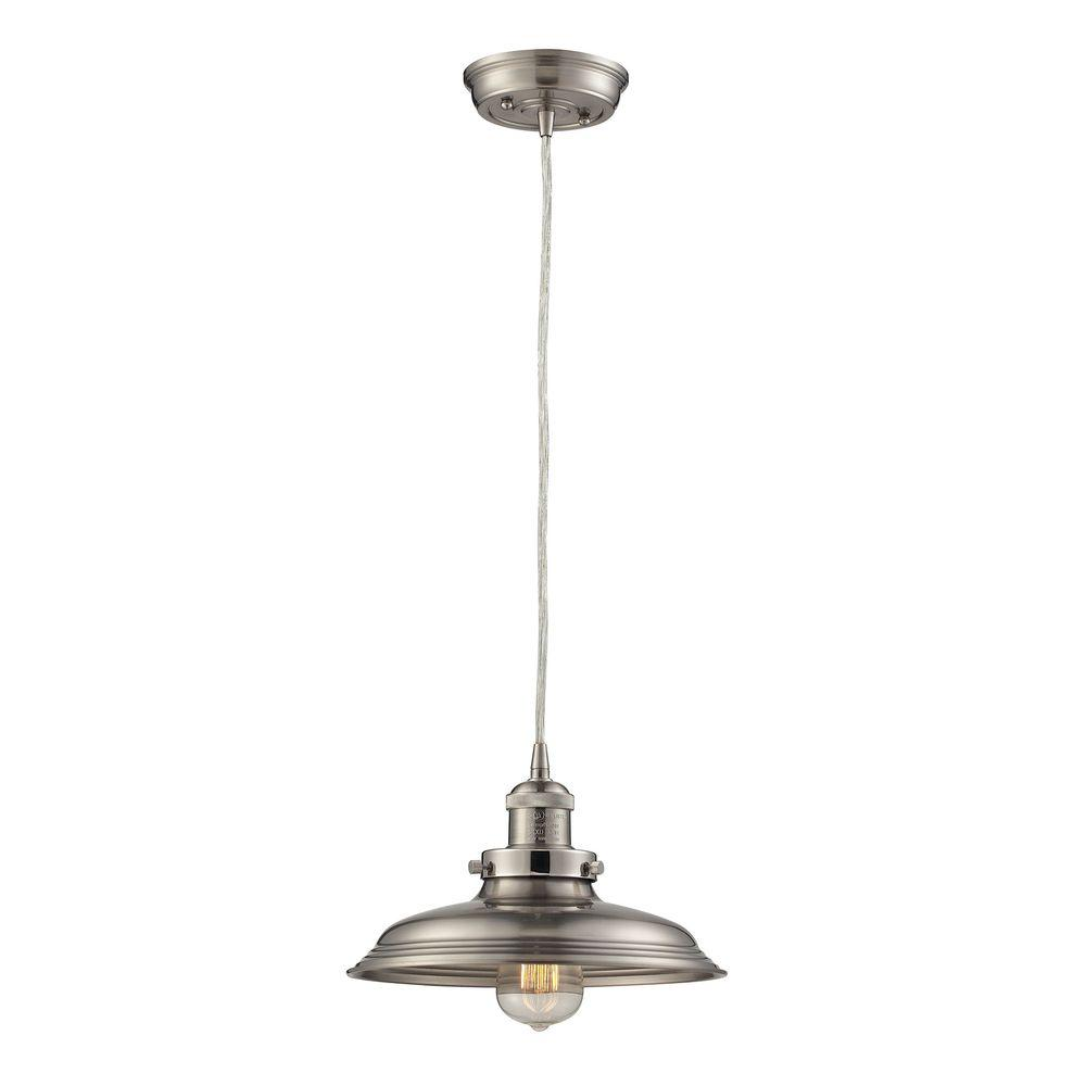1-Light Vintage Brushed Nickel Pendant with Metal Shade and Solid Case