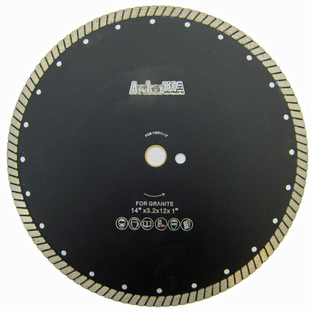 Archer USA 14 in. Wide Turbo Diamond Blade for Stone and Masonry Cutting