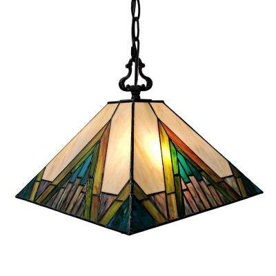 Tiffany 2-Light Green & Tan Hanging Pendant with Stained Glass Shade