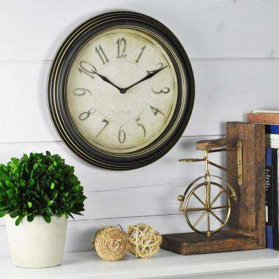 9.75 in. Round Distressed Plastic Wall Clock