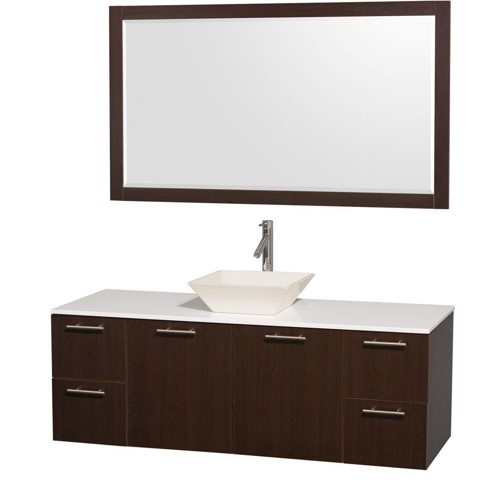 Wyndham Collection Amare 60 in. Vanity in Espresso with Man-Made Stone Vanity Top in White and Bone Porcelain Sink