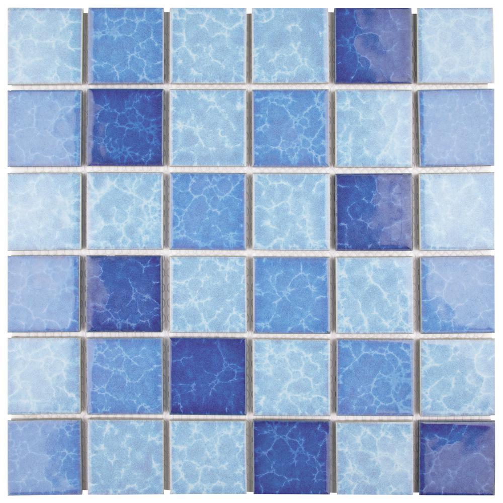 Merola Tile Watersplash Quad Aegean 11-7/8 in. x 11-7/8 in. x 6 mm ...