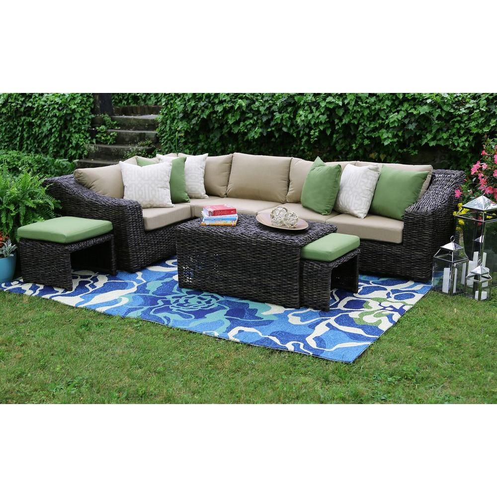 Ae Outdoor Williams 8 Piece All Weather Wicker Patio Sectional Set With Beige Cushions