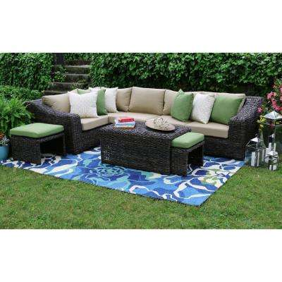 Williams 8-Piece All-Weather Wicker Patio Sectional Set with Beige Cushions