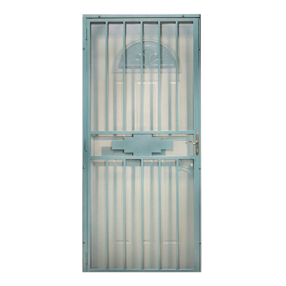 First Alert 36 in. x 80 in. Southwestern Steel Navajo Verde Security Door