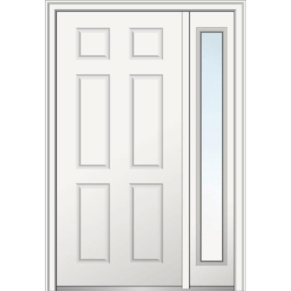 53 in. x 81.75 in. 6-Panel Left Hand Inswing Classic Primed Fiberglass Smooth Prehung Front Door with One Sidelite