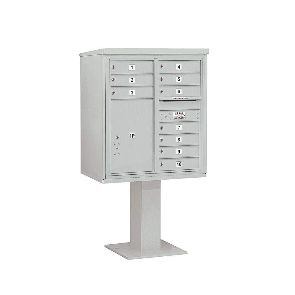 Salsbury Industries 3400 Series Gray Mount 4C Pedestal Mailbox with 10 MB1 Doors/1 PL6