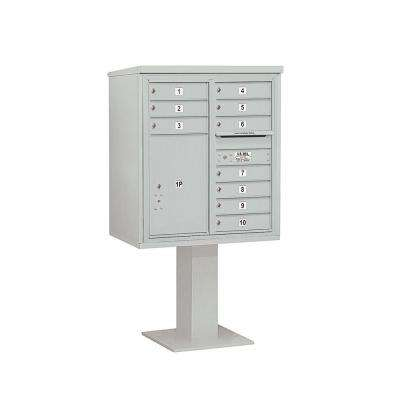 3400 Series Gray Mount 4C Pedestal Mailbox with 10 MB1 Doors/1 PL6