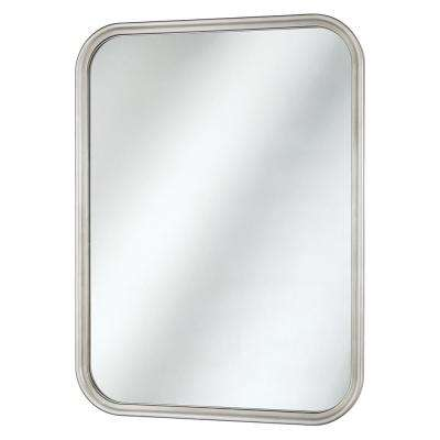 21 in. x 29 in. Framed Fog Free Wall Mirror in Soft Silver