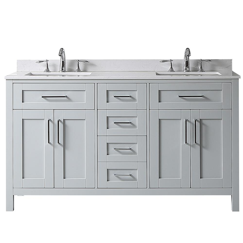 Home Decorators Collection Riverdale 60 in. W x 21 in. D Vanity in Dove Gray with a Cultured Marble Vanity Top in White with White Sink