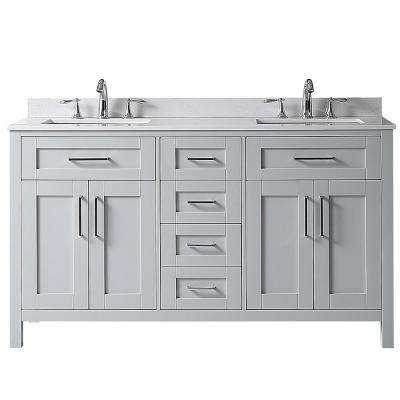 Riverdale 60 in. W x 21 in. D Vanity in Dove Grey with a Marble Vanity Top in White with White Basin